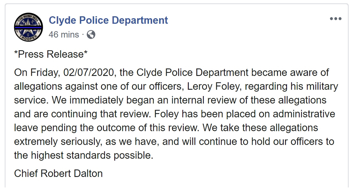 Clyde Police Dept Press Release