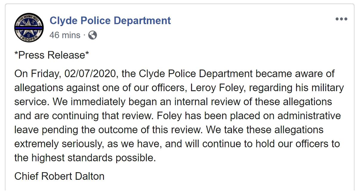 Clyde Police Dept Press Release